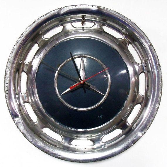 Mercedes Hubcap Clock  Dark Blue Green Wall Clock  by StarlingInk, $49.99
