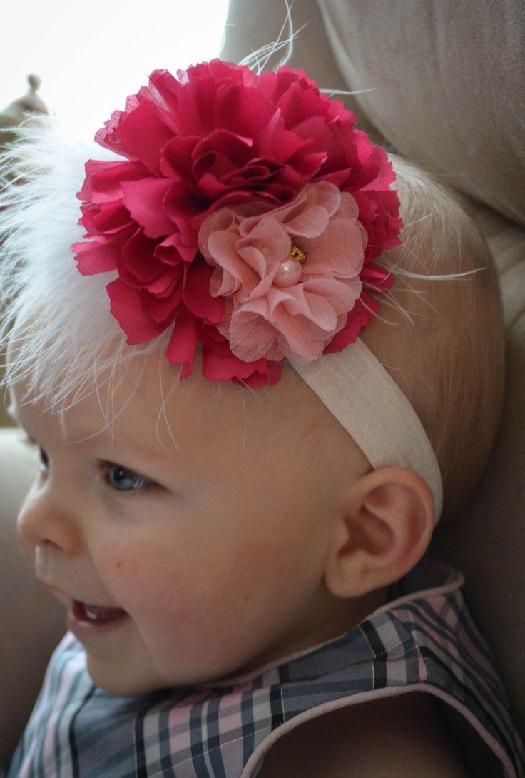 Flower headbands, gems, baby headband, elastic bands, baby gifts, hair accessories, dress up, beautiful creations, maribu puff, sweet accessories, Little Gracie's Creations, https://www.etsy.com/ca/people/mlingley1?ref=si_pr