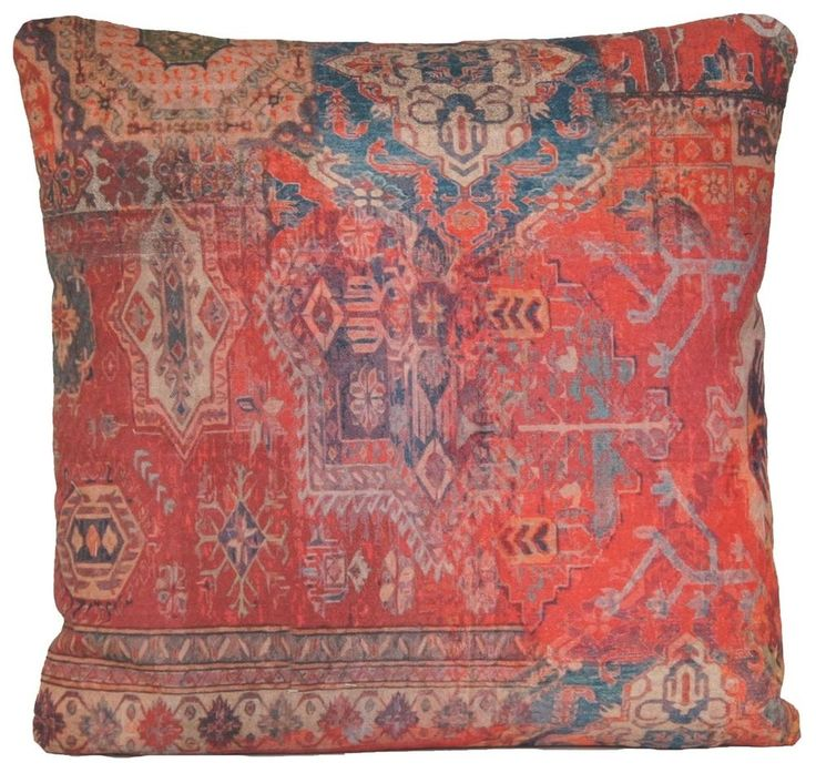 Details about Red Rug Printed Cushion Cover Oriental Kilim Pillow Throw Case Cotton Rusty B ...