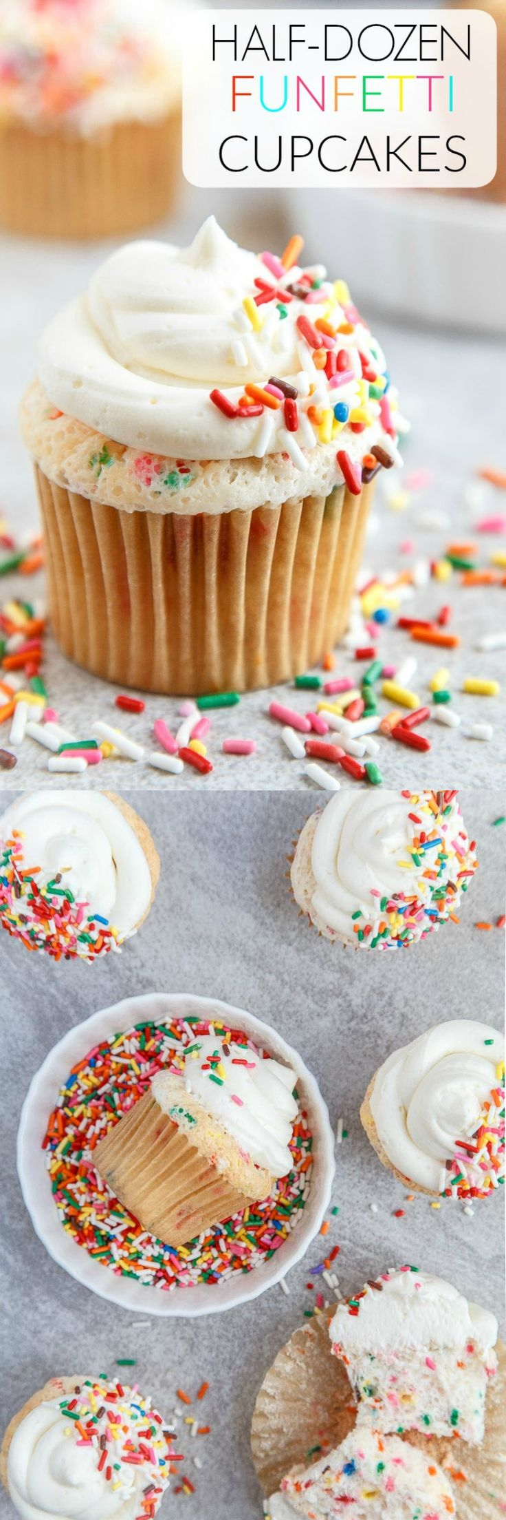 A small batch (6 cupcakes) of homemade funfetti cupcakes! Do you have 2 tablespoons of sprinkles lingering in your pantry like I do? @DessertForTwo