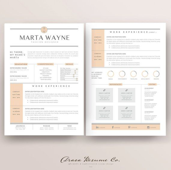Professional Resume Template Cv Template Photoshop Resume Etsy Resume Template Business Resume Template Graphic Design Jobs