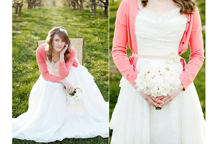 Wedding dress with cardigan, (my go to), hadn't thought about a colored cardigan tho, hmmm!