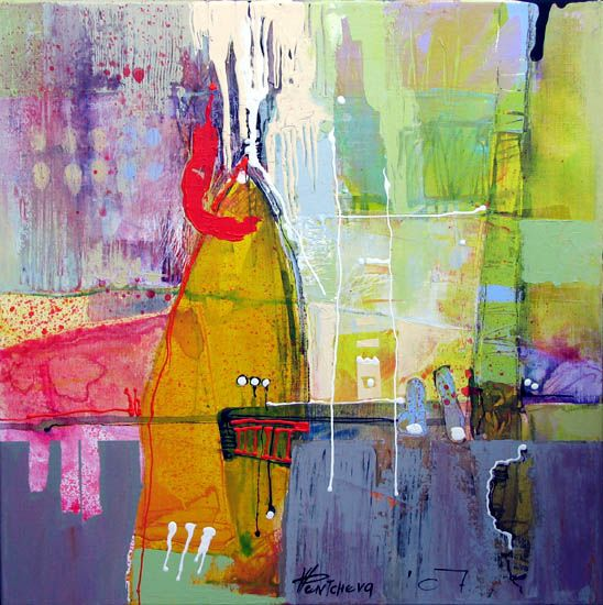 indigo, chartruese, red, pink abstract painting Vania Pentcheva - Untitled 3