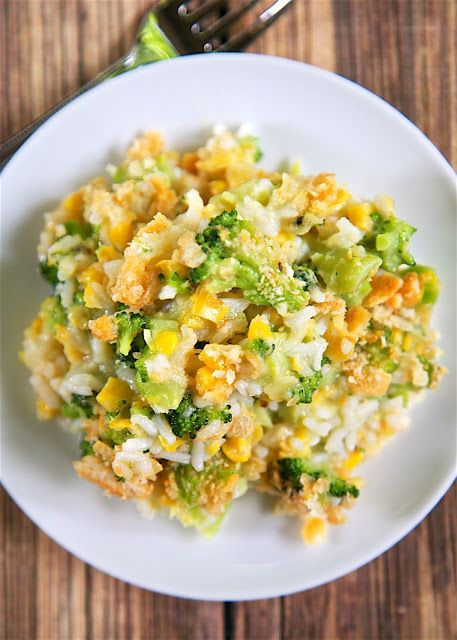 Corn and Broccoli Rice Casserole - so simple and SO delicious! Everyone cleaned their plates - even our picky broccoli haters! Cooked rice, creamed corn, broccoli, onion and garlic topped with butter and crushed Ritz crackers. You might want to double the recipe for this quick side dish - this didn't last long in our house!