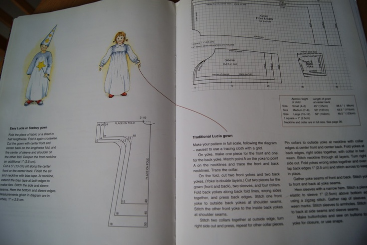a good list of Scandinavian books, including one that has a pattern to make Lucia/star boy robes