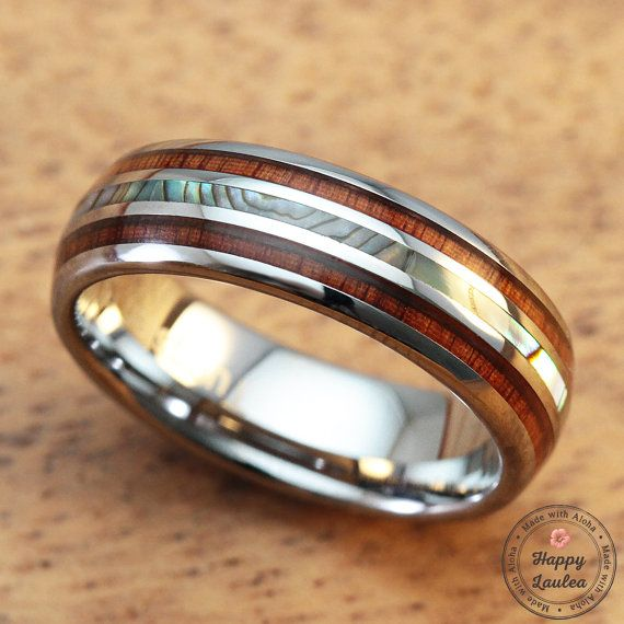 Tungsten Carbide Ring with Koa Wood & Abalone Shell by HappyLaulea