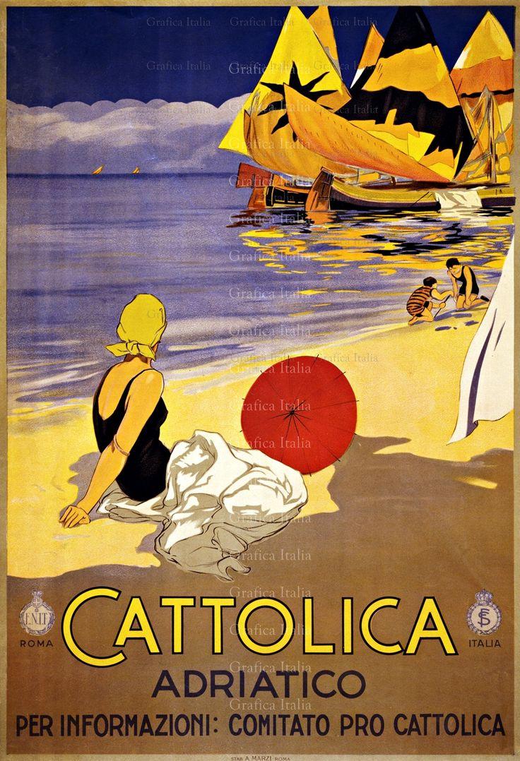92 best vintage poster images on pinterest vintage travel cattolica italy vintage travel poster printable wall decor print home decor design
