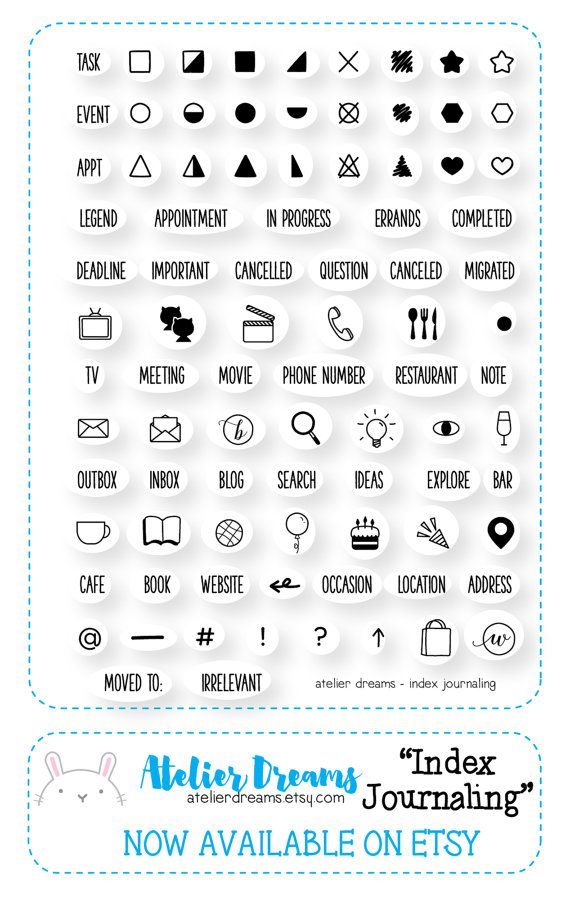 AD-011 INDEX JOURNALING – Planner stamps (photopolymer clear stamps) perfect for short journaling, stamp, clear stamp kawaii