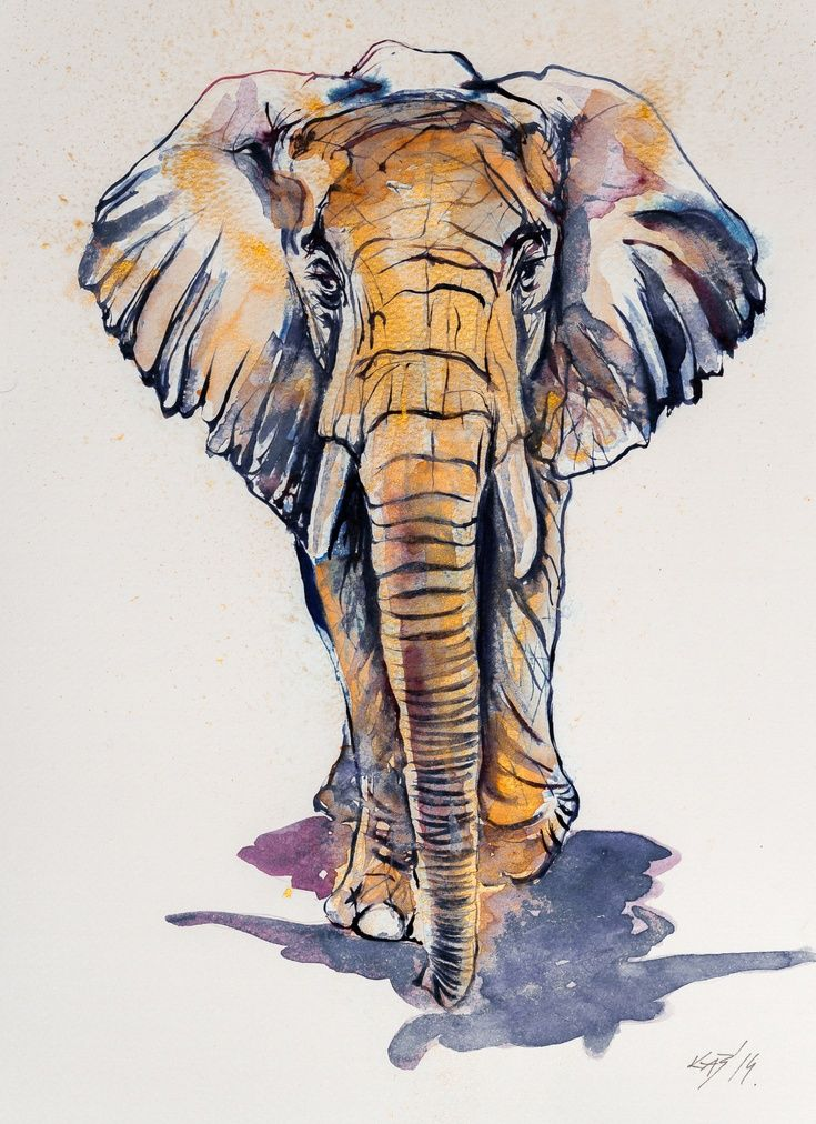 ARTFINDER: Elephant in gold by Kovács Anna Brigitta - Watercolour with gold pigment.