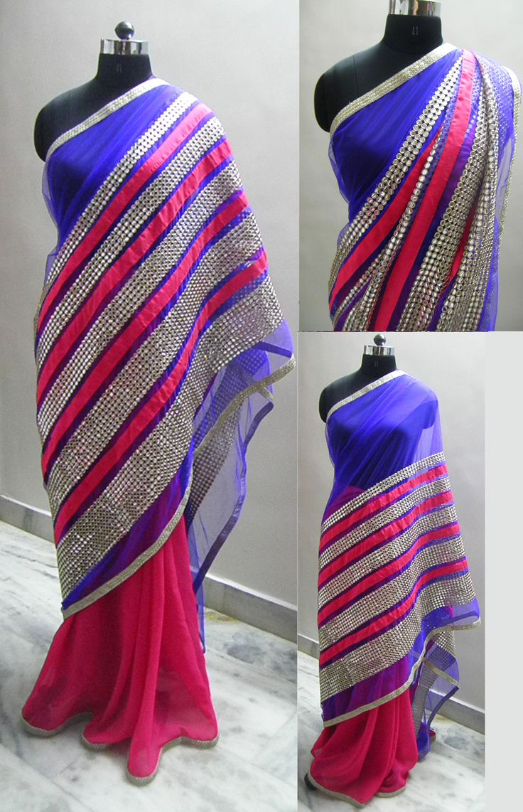 Bright pink georgette fabric used for pleats and the pallu is Blue net with beautiful heavy looking work .done..  Blouse - Pink raw silk   For booking your saree please Email us with Saree name to sales@aaenadesign.com or call us on +91 9167625956