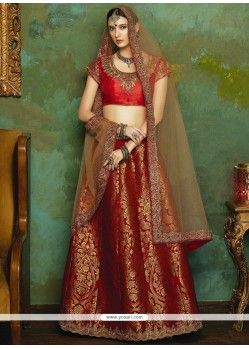 Excellent Jacquard Red Lehenga Choli