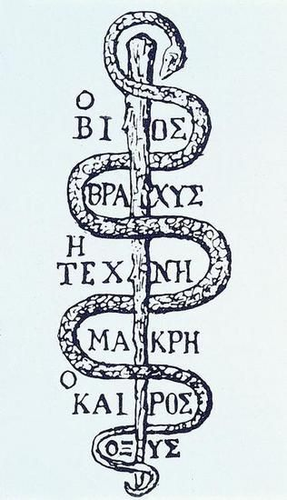 æskulapstav, (1. led af Asklepios), attribut for Asklepios, lægekunstens gud, i kunstneriske fremstillinger fra antikken. Staven er omslynget af en slange, som ved sin mulighed for hamskifte antages at symbolisere den livsfornyende kraft. Æskulapstaven er siden blevet brugt som symbol for lægekunst og farmaci. Æskulapsnoge (se slanger) var hellige dyr, der blev holdt i fangenskab ved hospitaler knyttet til templer indviet til Asklepios.