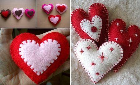 Cómo hacer corazones de fieltro, para colgar en un árbol de Navidad o hacer una guirnalda o bien para un bonito broche de San Valentín.