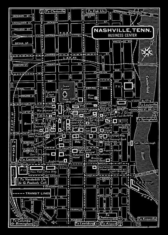 1949 Vintage Map of Downtown Nashville Black by seashoreprints, $14.95
