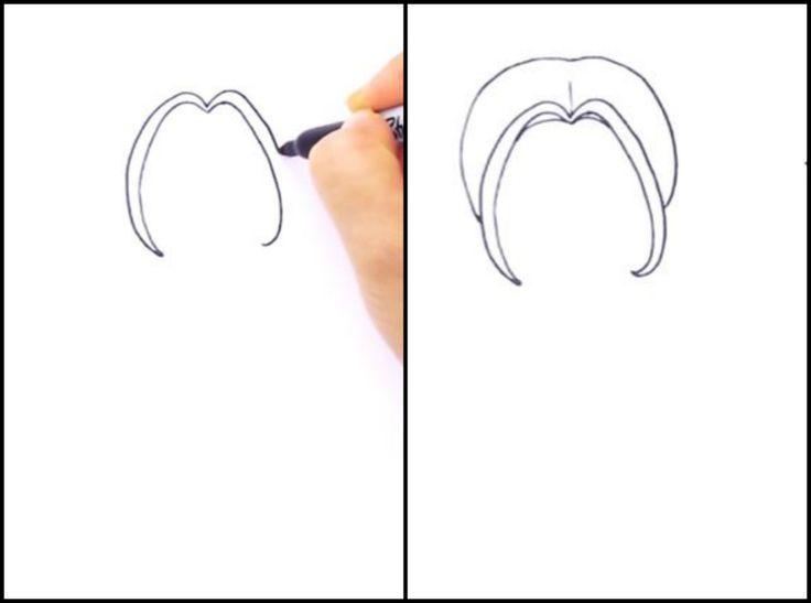 1. Намечаем пряди, обрамляющие лицо. 2. Обрисовываем причёску (пока без хвостиков).