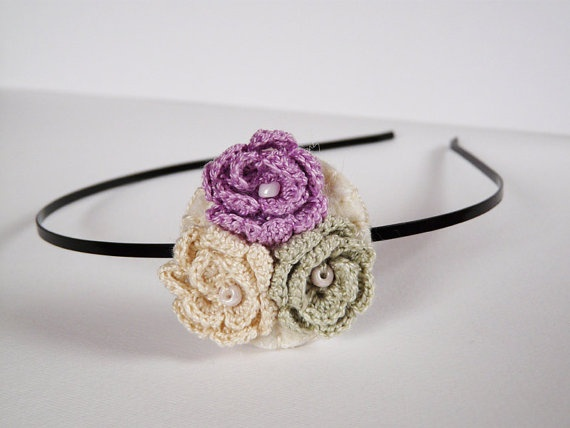 Crocheted rose hair headband Floral hair by myRainbowWorld on Etsy, $18.00