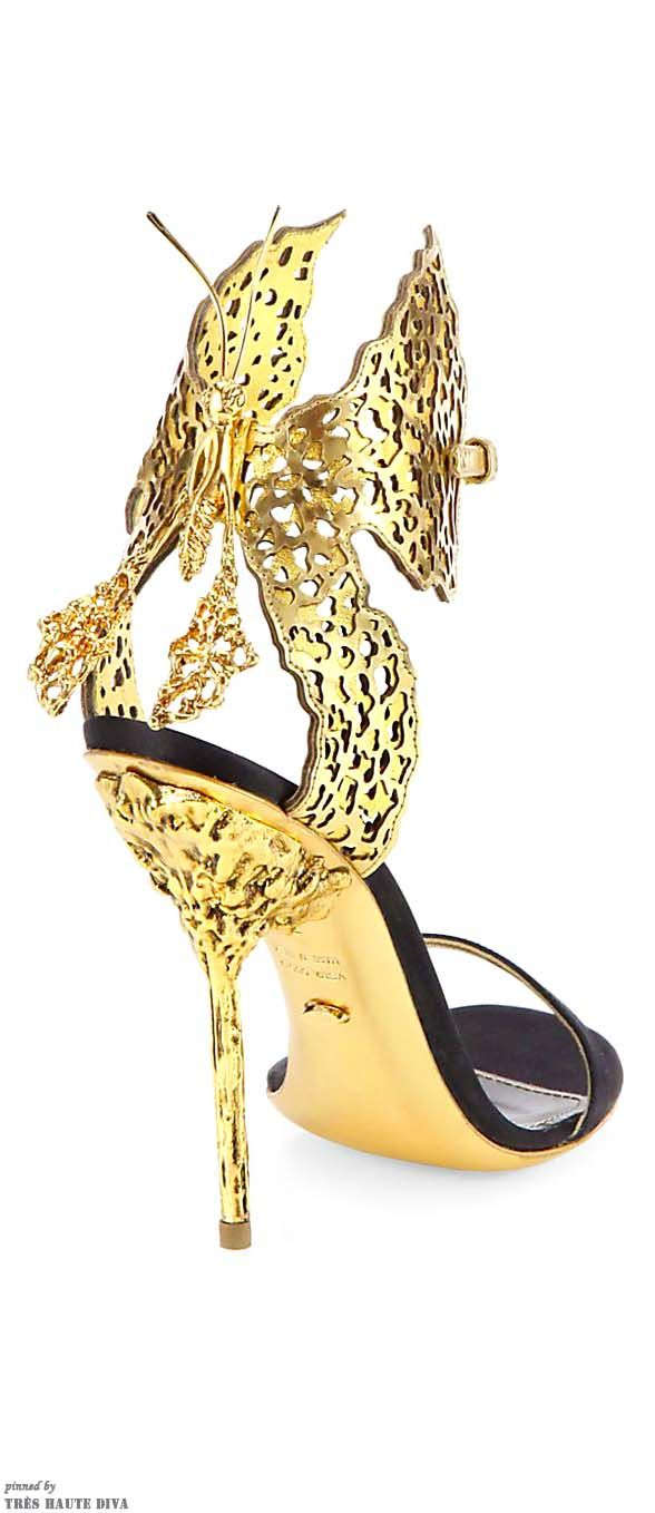 Sergio Rossi Filigree Butterfly Laser-Cut Leather & Satin Sandals