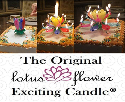2 Birthday Candles - (1) Rainbow Lotus Birthday Candle and (1) Other Exciting Birthday Candle