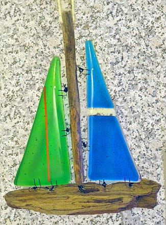 Driftwood and fused glass boat
