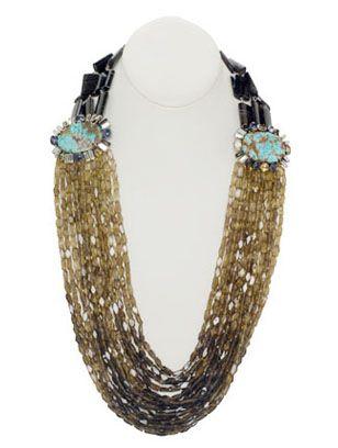 Iradj Moini..amazing turquoise and labradorite waterfall necklace.