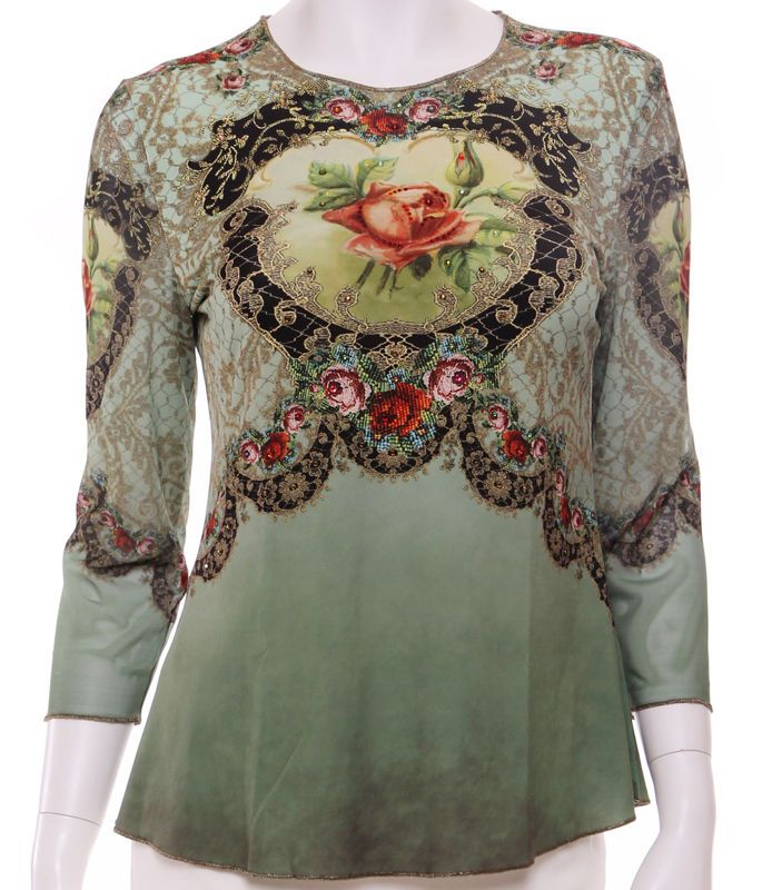 Michal Negrin Victorian Style Roses Crystals Blouse Long Sleeves Shirt Top #MichalNegrin #Blouse