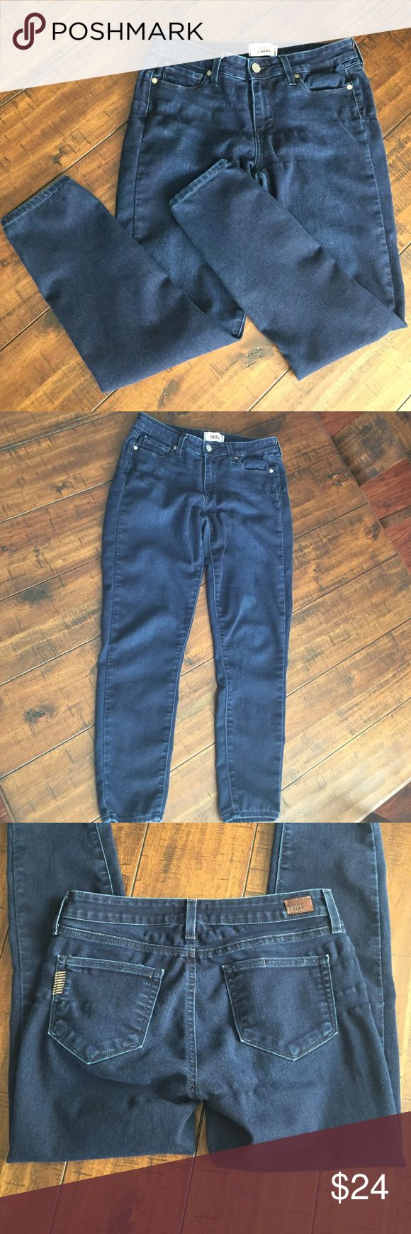 Paige Verdugo Ankle Paige Premium Denim skinnies. These are a little thinner material than standard jeans with a  77% cotton, 21% poly & 2% elastane blend.  They look great with boots or flats. Paige Jeans Jeans Skinny