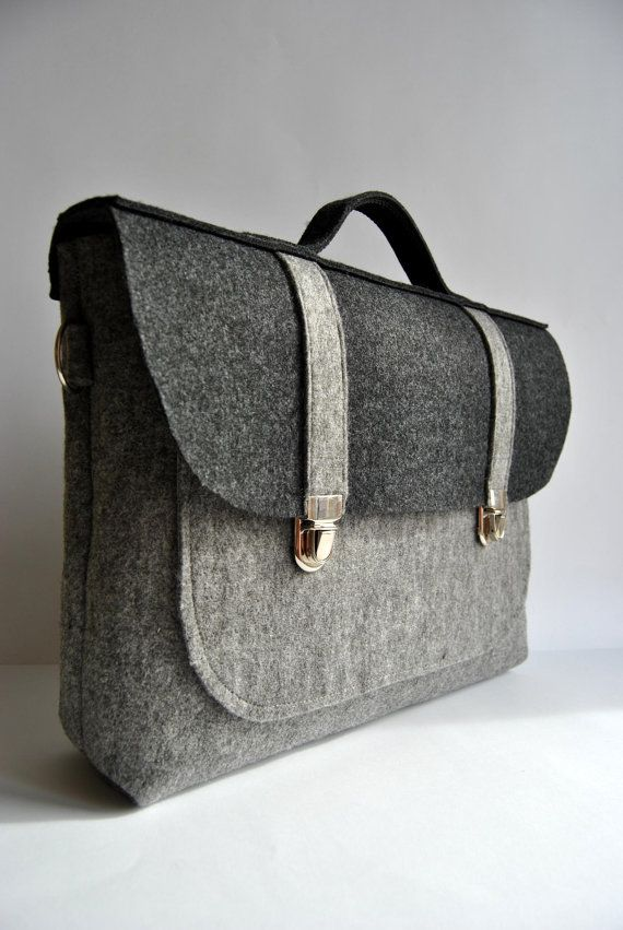 Felt laptop bag 17 MacBook urban bag Color gray and anthracite felt Common Laptop Bag satchel Briefcase on Etsy, $60.00