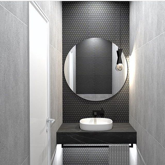 Galaxy Grey Round Penny Mosaic Feature Wall With Black Grout With Matte Black Framed Round Mirror Nero M Round Mirror Bathroom Nero Marquina Bathroom Bathroom