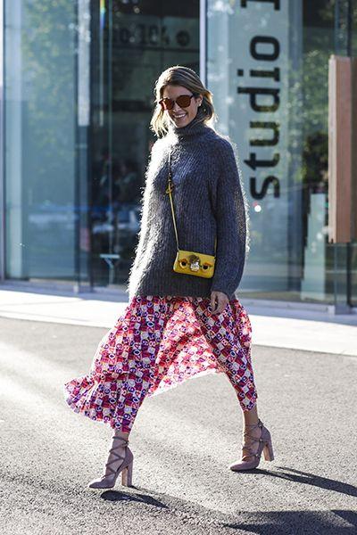 Skirt and sweater fall fashion