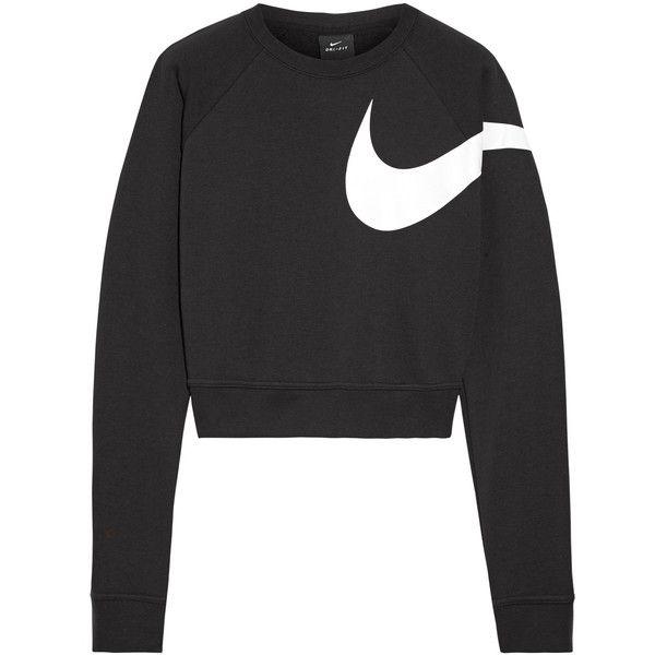 Nike Versa Dri-FIT cropped printed jersey sweatshirt (79 CAD) ❤ liked on Polyvore featuring activewear, activewear tops, gym, black, raglan jersey, nike activewear, dri fit jerseys, nike sportswear and nike jerseys