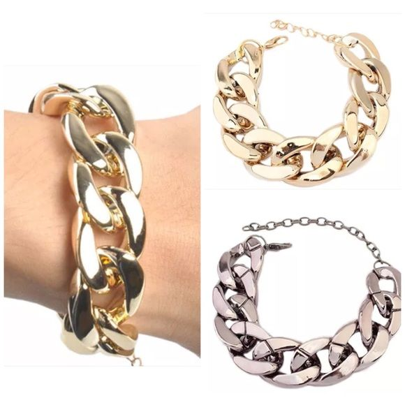 """Chunky Chain Link Bracelet Gold or Silver New Chunky Chain Link Bracelet Gold or Silver New~6"""" with extended chain Jewelry Bracelets"""