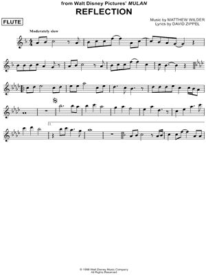 """""""Reflection"""" from 'Mulan' Sheet Music (Flute Solo) - Download & Print"""