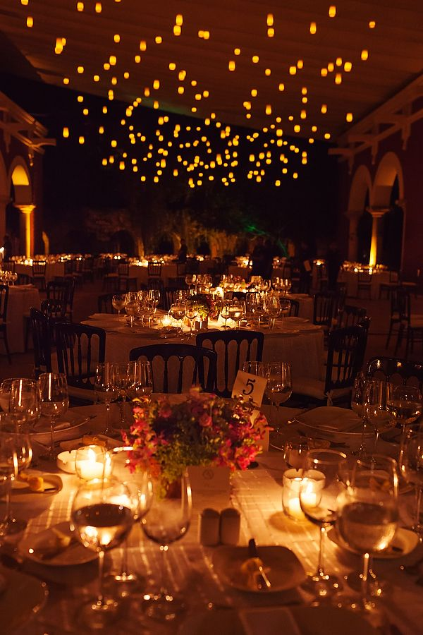 Romantic reception decor with soft string lights at the #HaciendaHenequera in Xcaret, Mexico. @bodasxcaret #XcaretWedding by Quetzal Photo