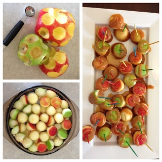 Caramel apple bites -- scoop out chunks of apples and dip || #LittlePassports #cute #food for #kids