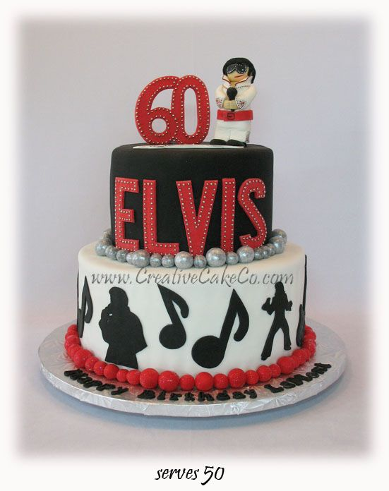 Red, black, and white Elvis birthday cake