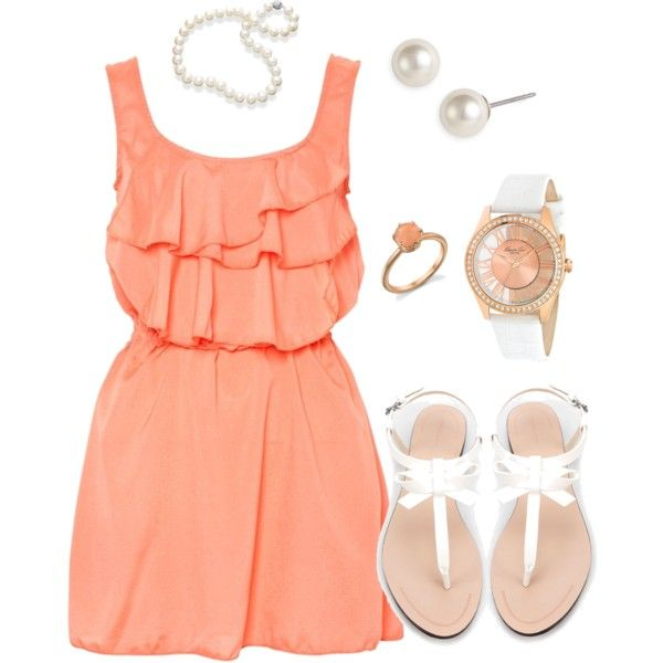 Peachy.... Thrown on a chunky cream cardi, light tights and some rider boots = perfect way to transition a cute summer dress into fall