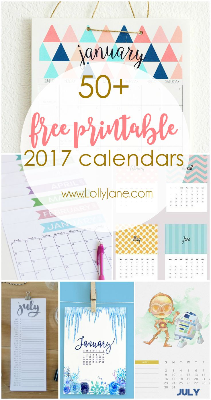 2017 free printable calendars! So many gorgeous calendars!!