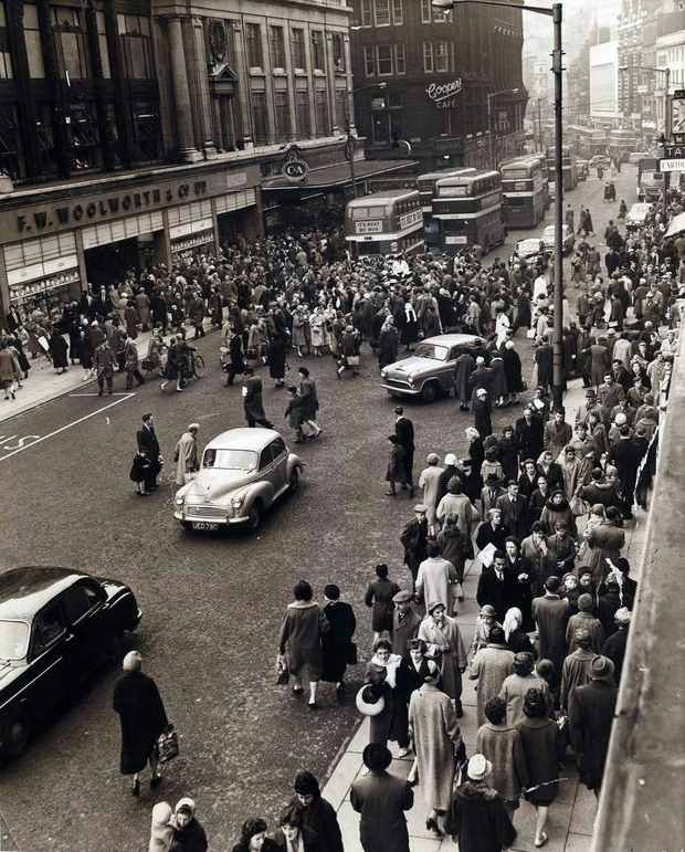 """Woolies"" Church St. Liverpool . Look closely and you can see the 3 police officers (in white coats) that manned the crossing. And I can still smell the Coffee coming from Coopers"