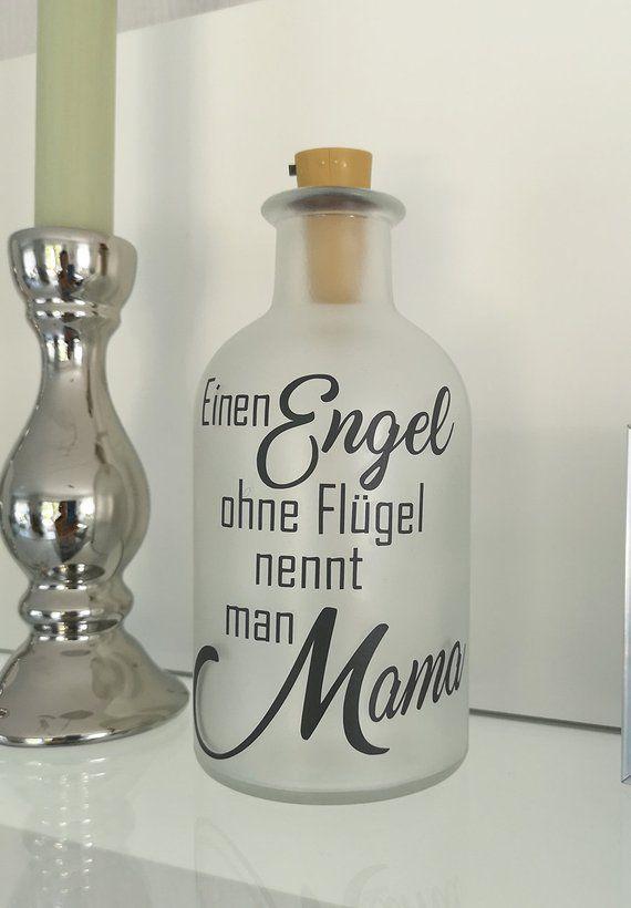 Dekoflasche mit Beleuchtung Muttertag * Beleuchtung * Flaschenlicht * Bottlelight – Engel Mama Statement Spruch Flasche