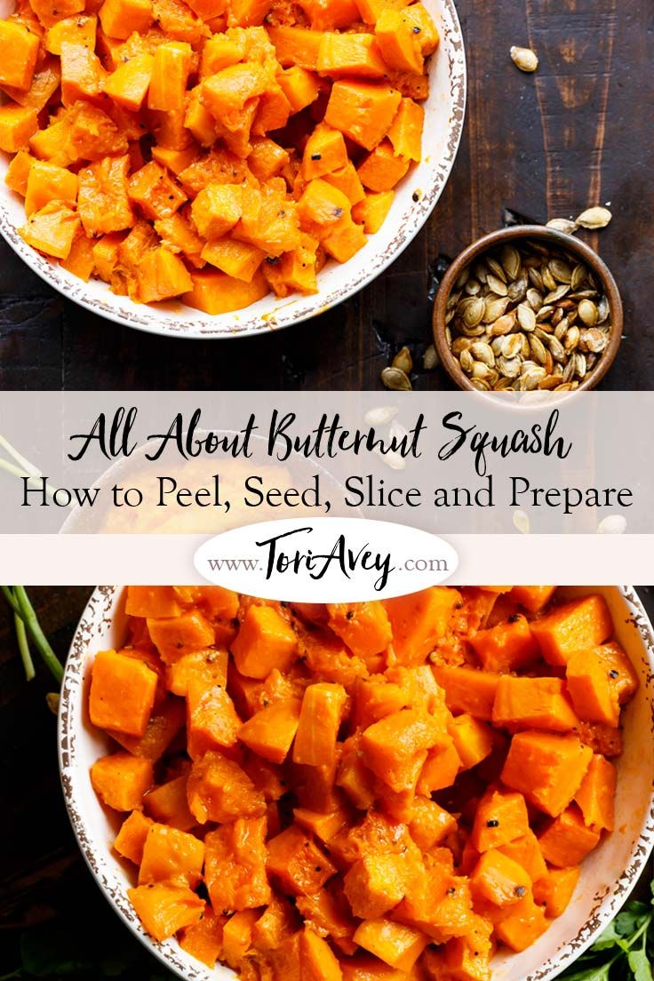 All About Butternut Squash - How to peel, seed, roast and prepare hard-skinned Butternut Squash. Save money by prepping this winter squash yourself, then toast the seeds! via @toriavey