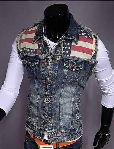 Mænds Fashion Spell Water Wash Slim Denim Vest 3611888 2016 - kr.219