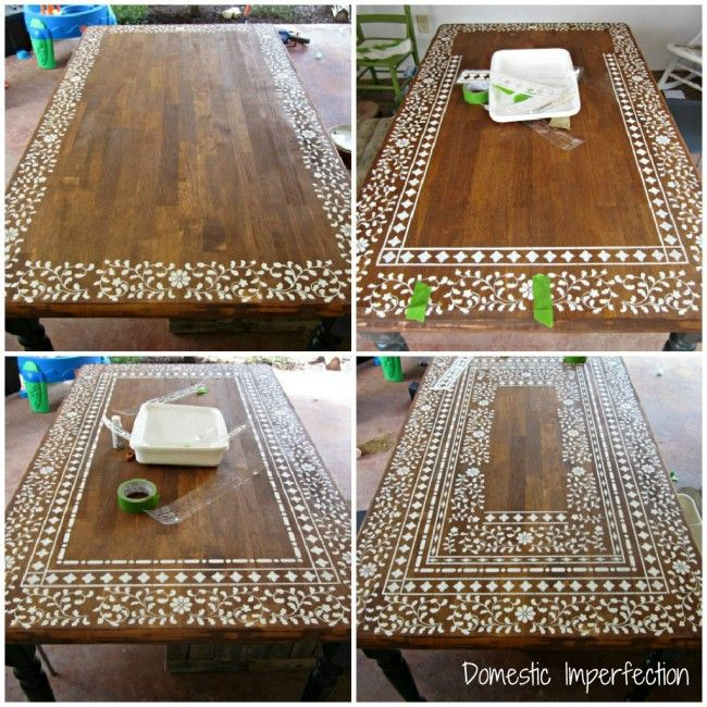 This lady's blog is a must read for anyone with a thing for DIY home decor crafts. She is amazing with stencil! Would be even prettier with a paint over the table first!