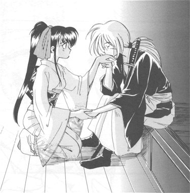 Kenshin and Kaoru~A kiss on the hand -- he's always such a gentleman.