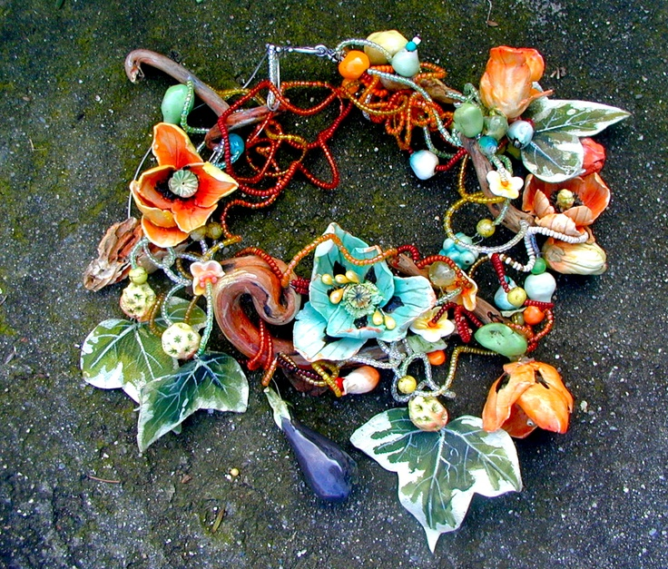 FLOWERED WOOD, Necklace,porcelain,painted leather, wood, various beads