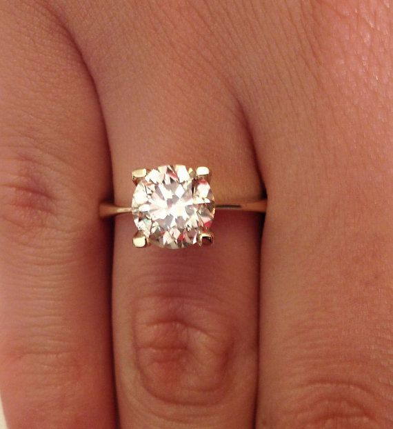 inique engagement rings for women solitare   Unique Engagement Rings, 2.00 CT Diamond Solitaire Engagement Ring ...