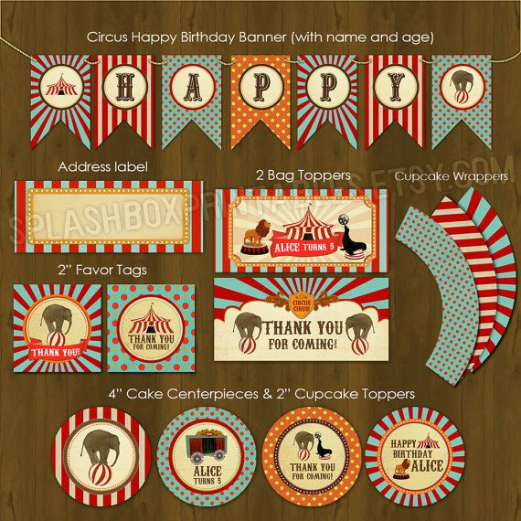 Circus Printable Birthday Package - Vintage Circus Birthday Party DIY Set - invitation, cupcake toppers, wrappers