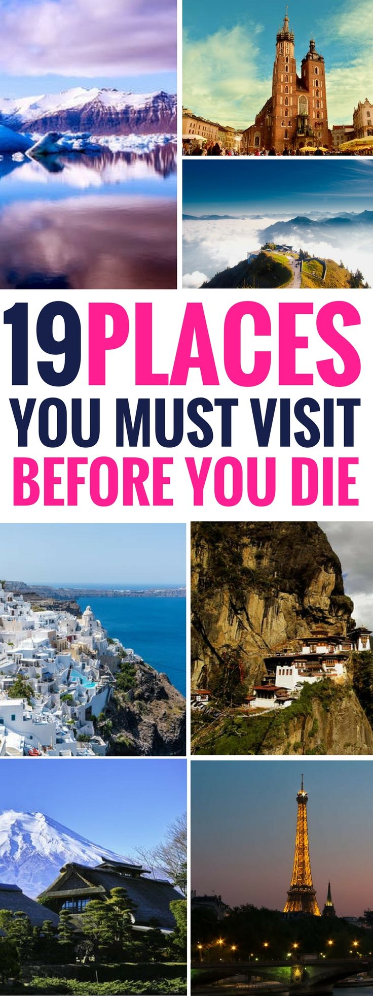 These 19 amazing places to visit before you die are THE BEST! I'm so glad I found these amazing travel destinations for my travel bucket list! Now I have some great places to travel to! Pinning this for sure! #travelgoals #traveltuesday #destinationguide #destination #vacation #travelling #traveller