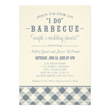 """A festive and stylish wedding couple's shower invitation for a casual backyard BBQ event. Text includes """"Join us for an """"I do"""" Barbecue couple's wedding shower"""" honoring the future bride and groom. Slate gray / blue and cream design colors - for a white background, change to a different cardstock type such as Basic or Linen. #summer #gingham #wedding #barbecue #barbeque #bbq #casual #theme #plaid #fun #couple's #shower #checkered #tablecloth #outdoor #cookout #checked #party"""