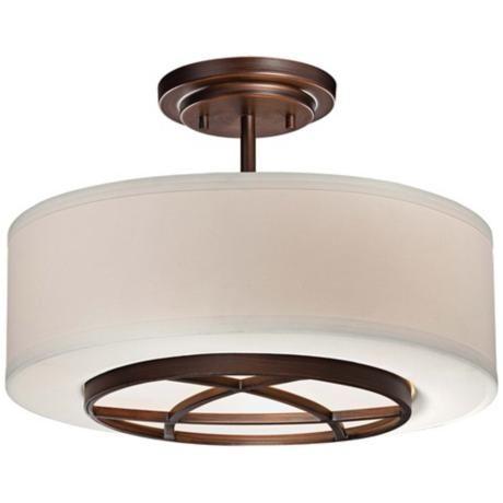 "City Club 15"" Wide Brushed Bronze Semi-Flush Ceiling Light - #2W928 | LampsPlus.com  9 3/4"" high  3(72) watt bulbs"