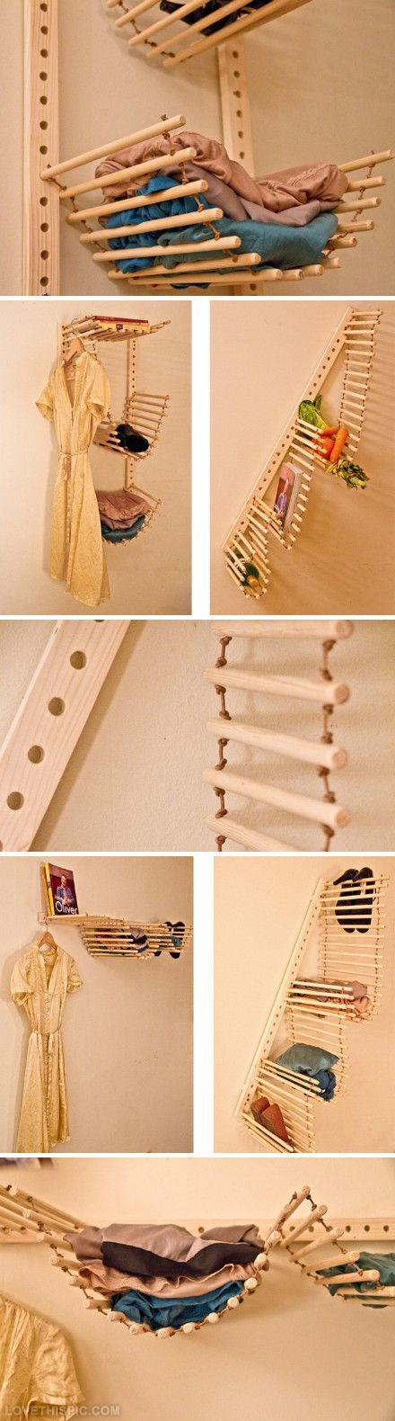 DIY room organization.  Very clever!  Would be great in a kids room or laundry room.  Paint or stain the dowels and you have a whole different look!  I can even see a real heavy duty version with some cushions, used as seating - in doors or out!  How cool would that be?  ;)